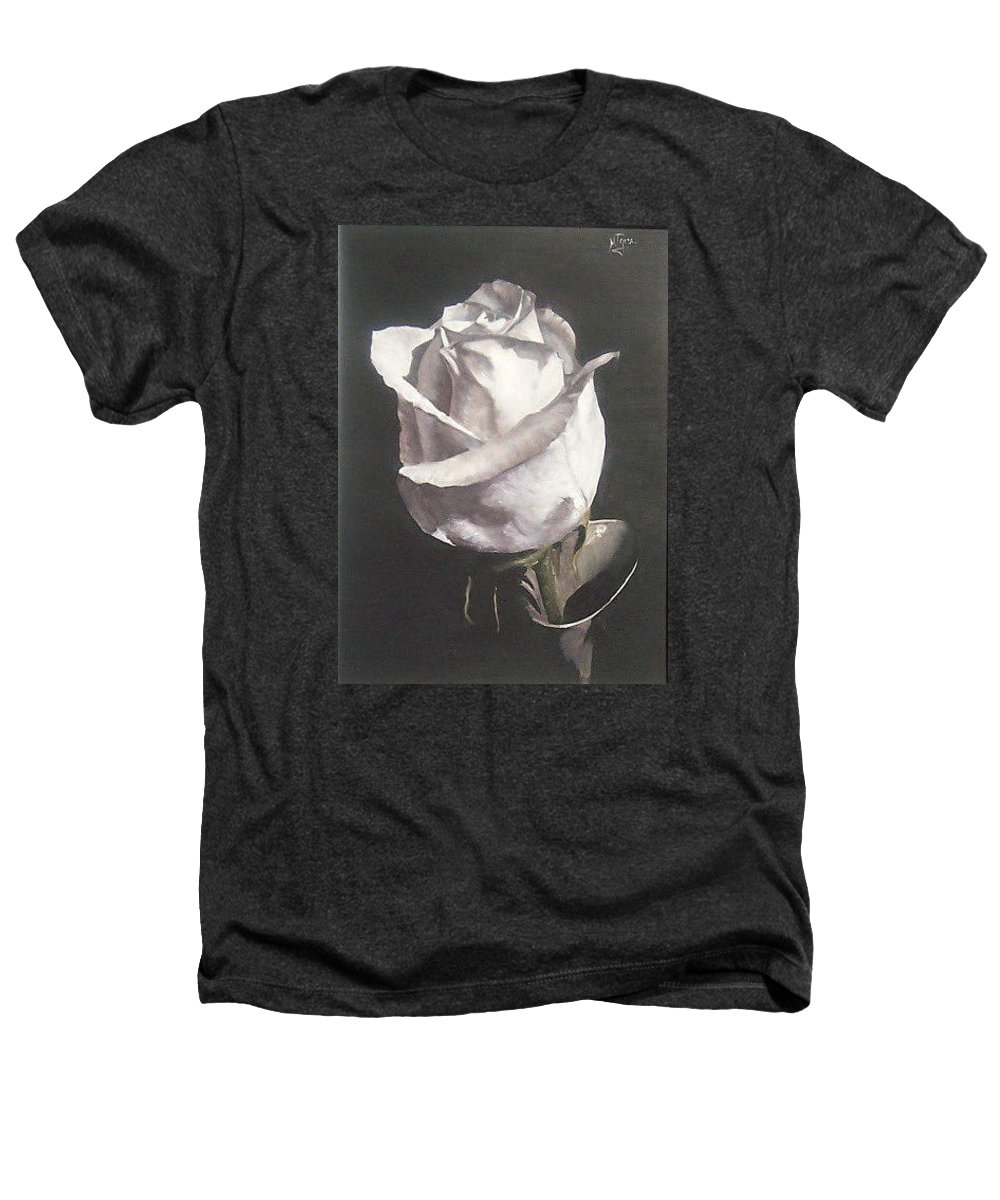 Rose Floral Nature White Flower Heathers T-Shirt featuring the painting Rose 2 by Natalia Tejera