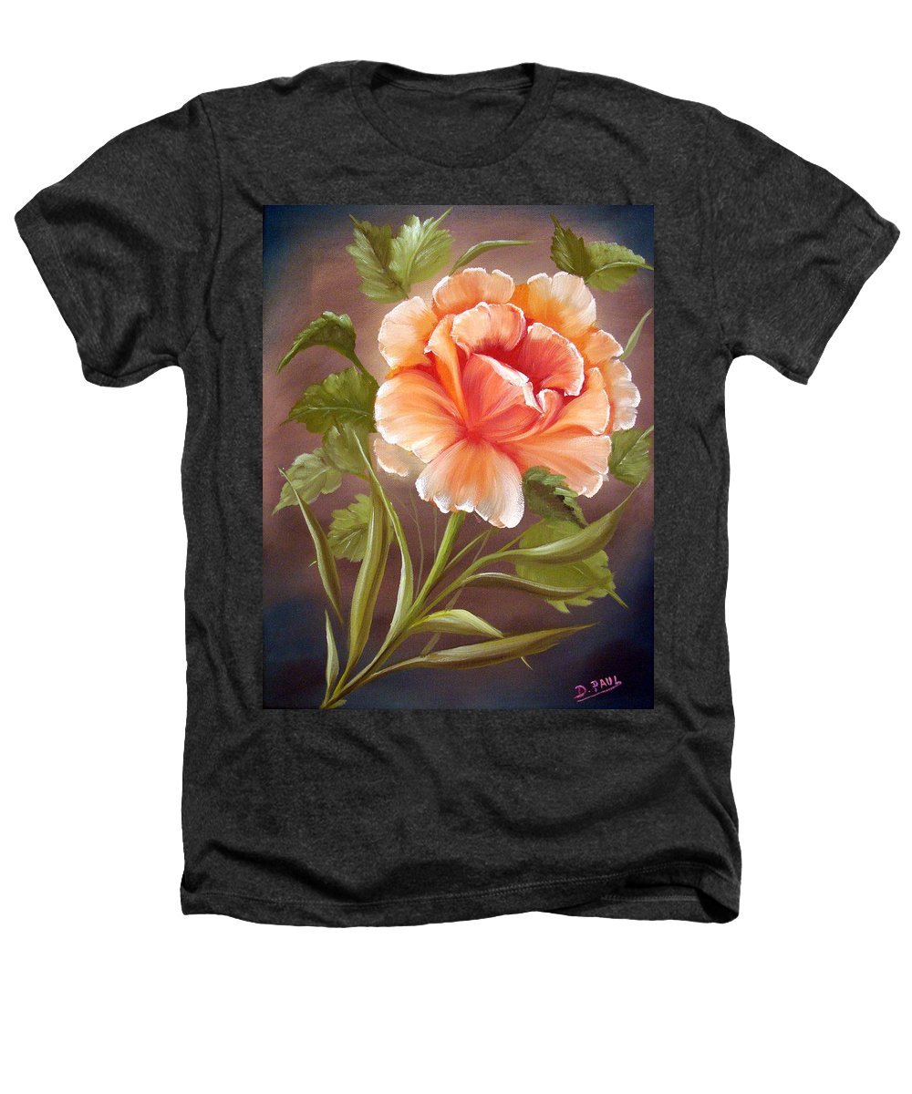 Rose Heathers T-Shirt featuring the painting Rose Tropicana by David G Paul