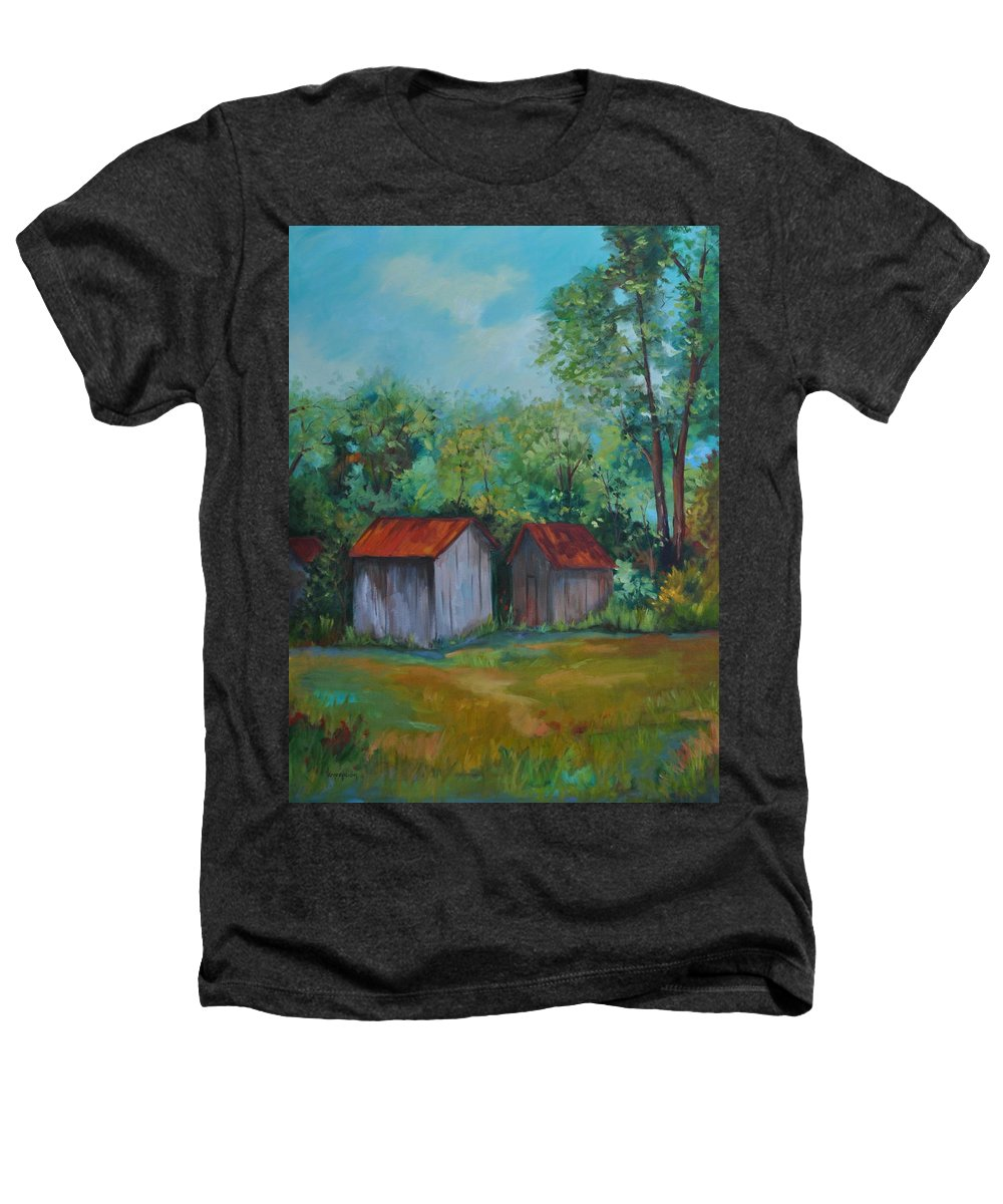 Outbuildings Heathers T-Shirt featuring the painting Rural Architecture by Ginger Concepcion
