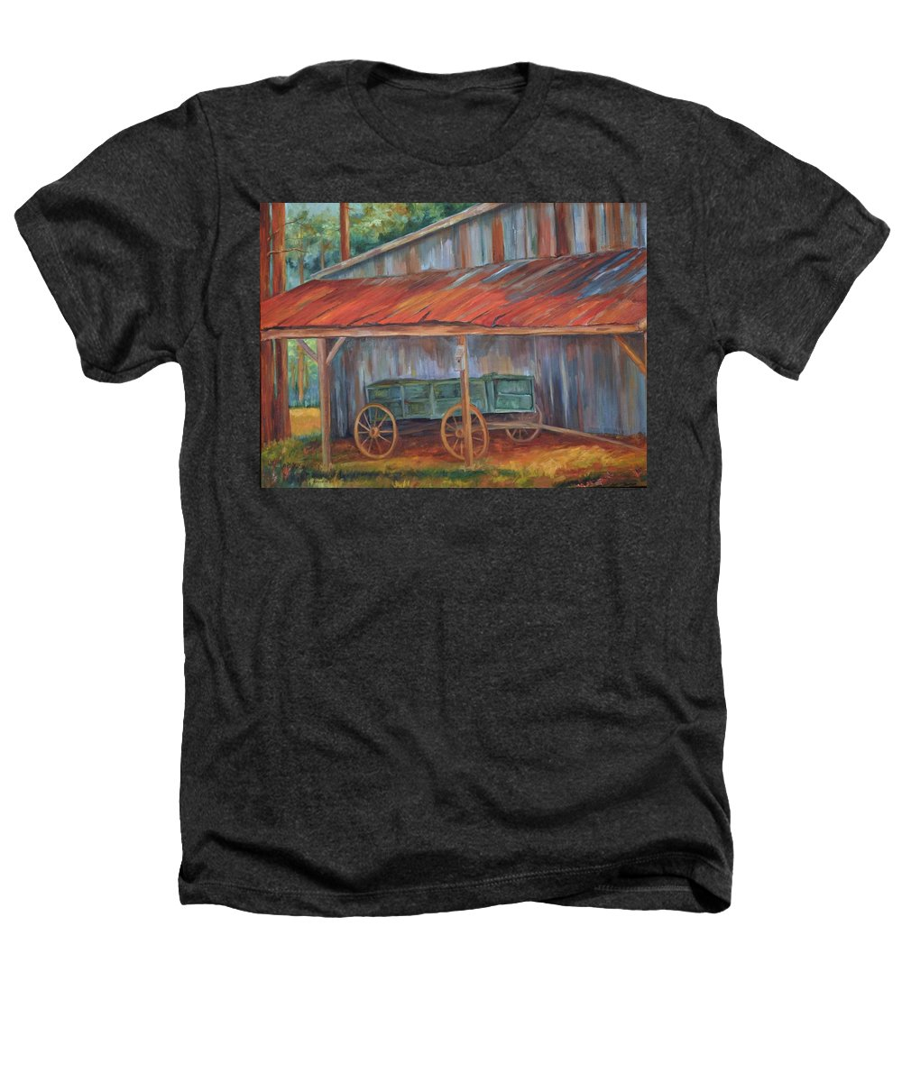 Old Wagons Heathers T-Shirt featuring the painting Rustification by Ginger Concepcion