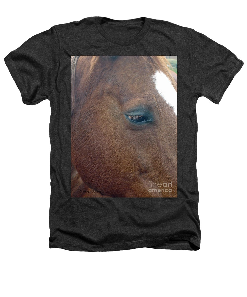 Horse Heathers T-Shirt featuring the photograph Sad Eyed by Shelley Jones