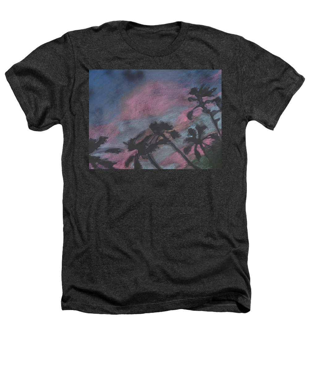 Contemporary Tree Landscapes Heathers T-Shirt featuring the drawing San Diego Palms by Leah Tomaino