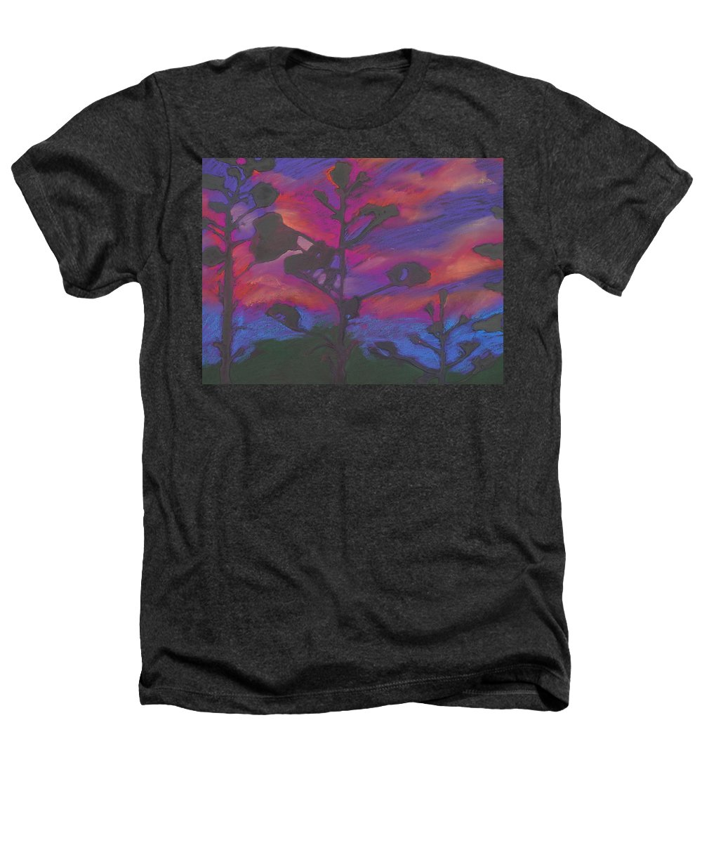 Contemporary Tree Landscape Heathers T-Shirt featuring the mixed media San Diego Sunset by Leah Tomaino