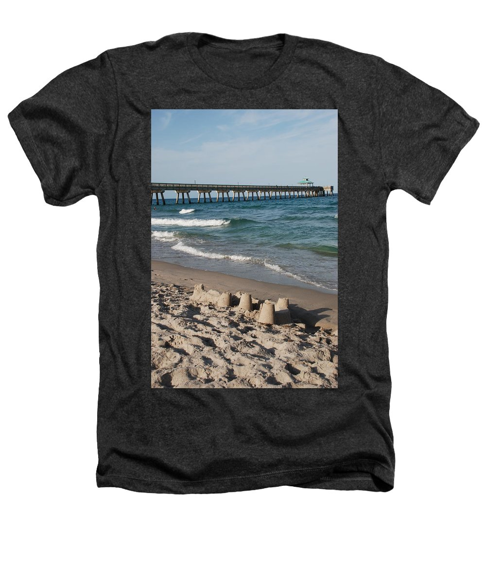 Sea Scape Heathers T-Shirt featuring the photograph Sand Castles And Piers by Rob Hans