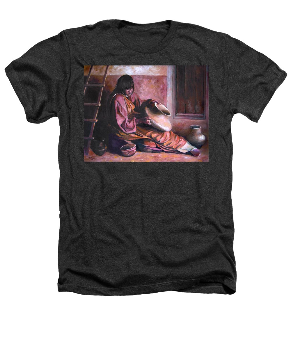 Native American Heathers T-Shirt featuring the painting Santa Clara Potter by Nancy Griswold