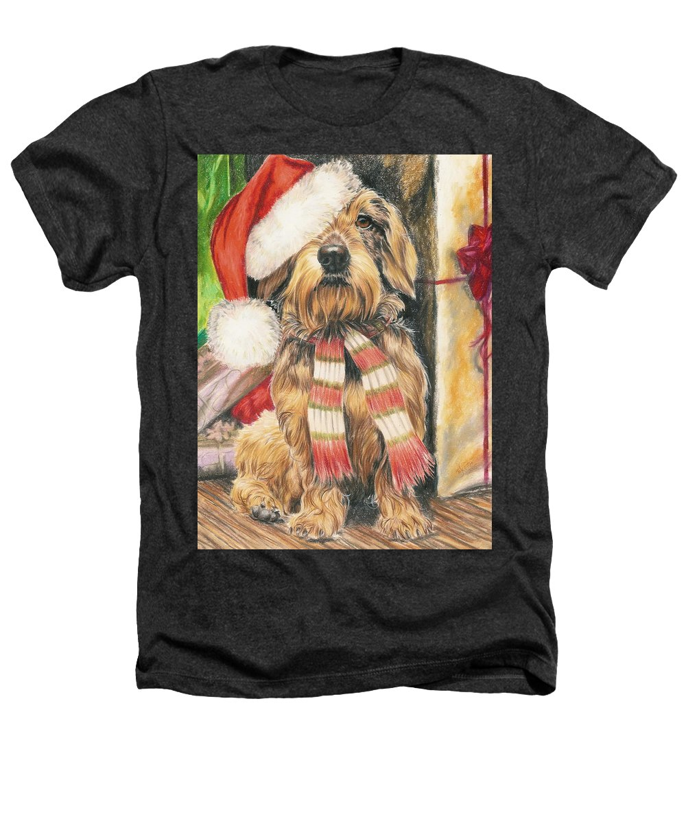 Dogs Heathers T-Shirt featuring the drawing Santas Little Yelper by Barbara Keith