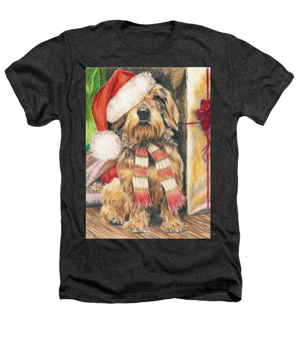 Hound Group Heathers T-Shirt featuring the drawing Santas Little Yelper by Barbara Keith