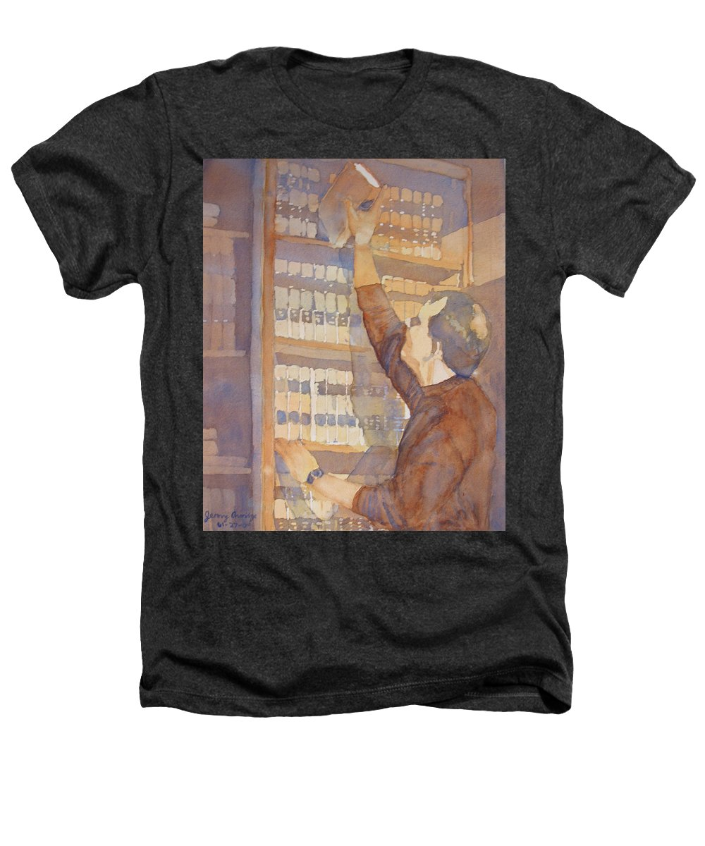Law Heathers T-Shirt featuring the painting Saturday At The Office by Jenny Armitage