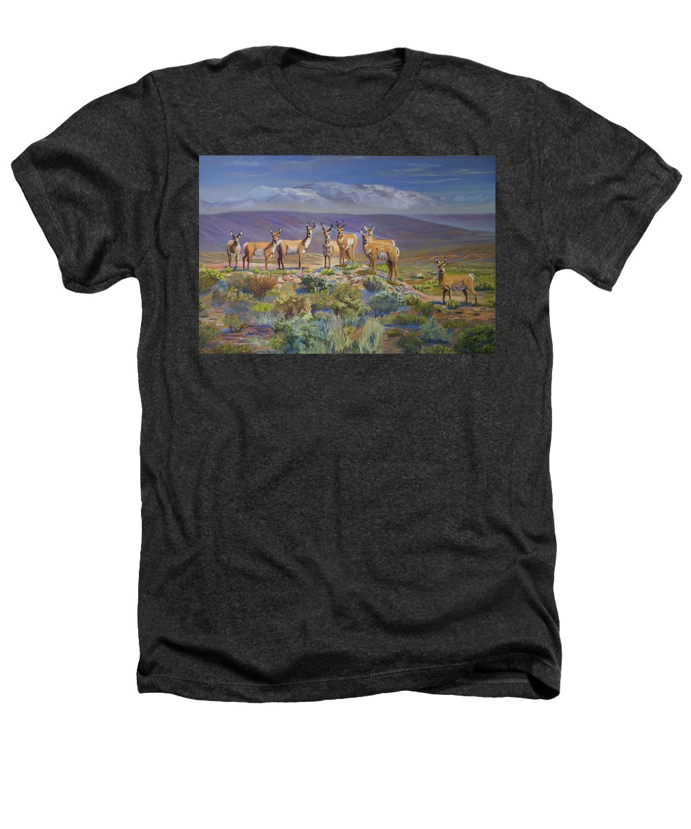 Antelope Heathers T-Shirt featuring the painting Say Cheese Antelope by Heather Coen