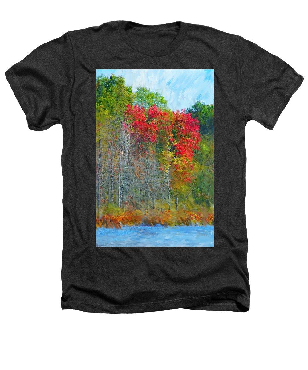 Landscape Heathers T-Shirt featuring the digital art Scarlet Autumn Burst by David Lane