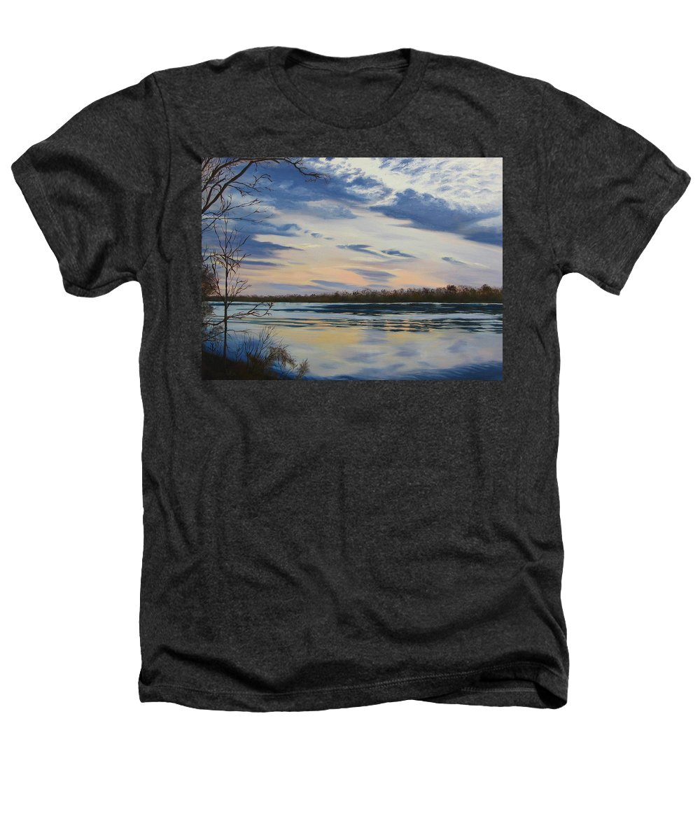 Clouds Heathers T-Shirt featuring the painting Scenic Overlook - Delaware River by Lea Novak