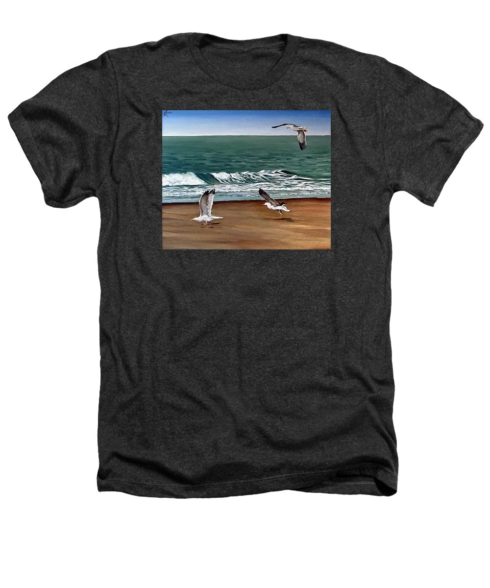 Seascape Heathers T-Shirt featuring the painting Seagulls 2 by Natalia Tejera