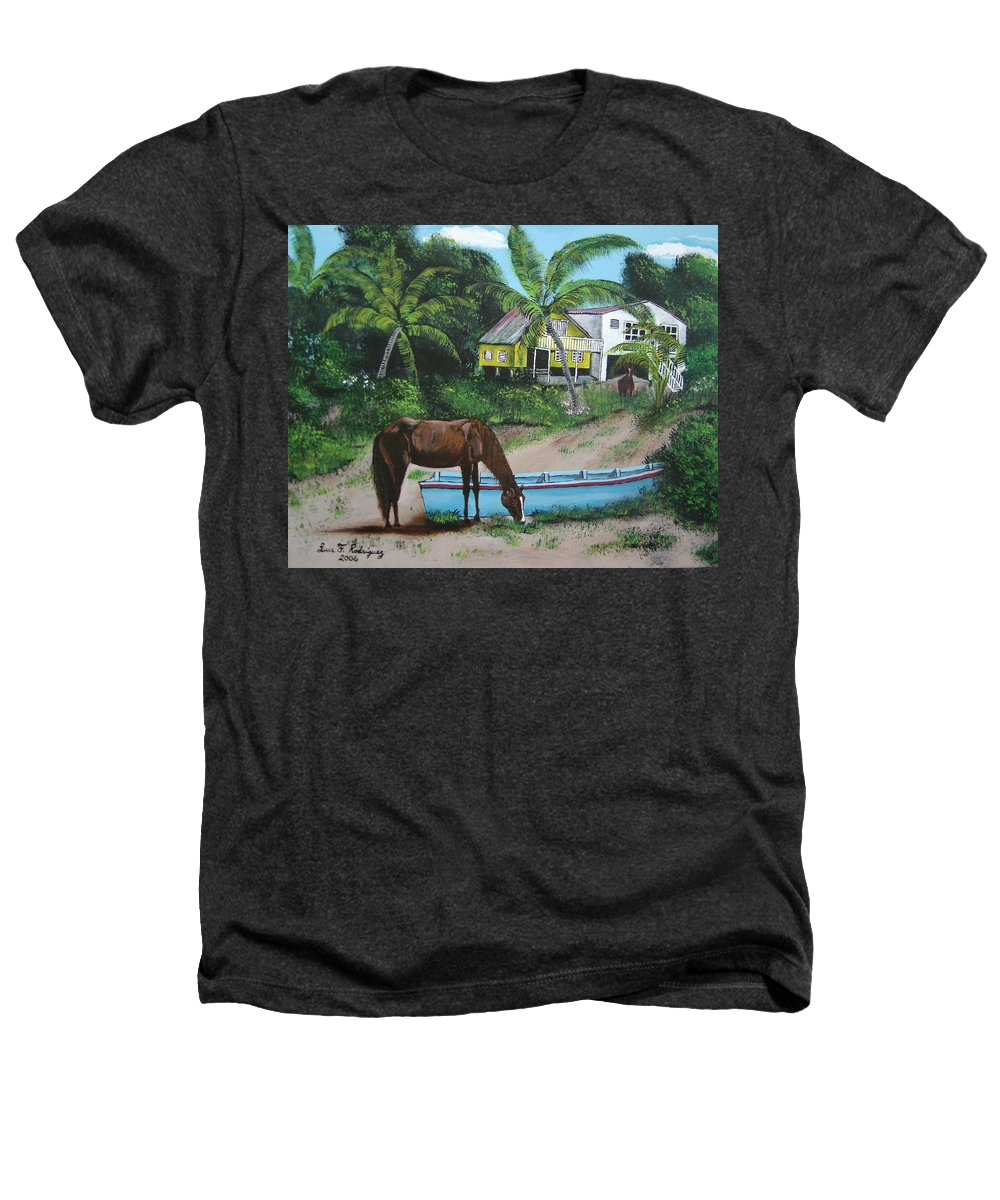Aguadilla Heathers T-Shirt featuring the painting Serenity by Luis F Rodriguez