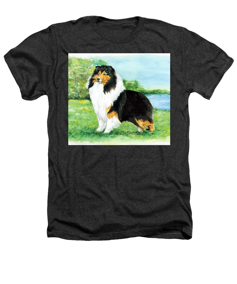 Shetland Sheepdog Heathers T-Shirt featuring the painting Sheltie Wait by Kathleen Sepulveda