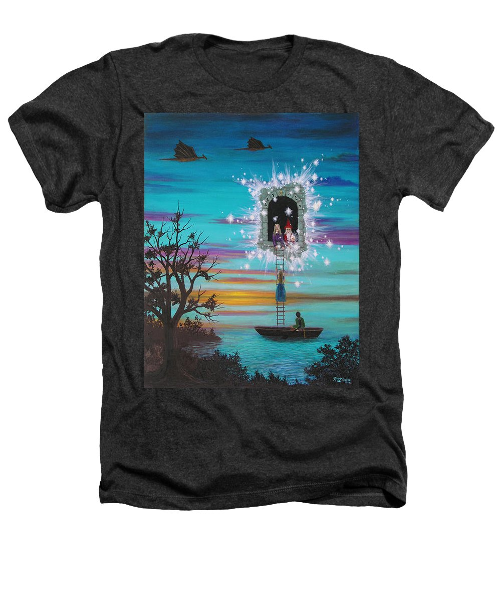 Fantasy Heathers T-Shirt featuring the painting Sky Window by Roz Eve