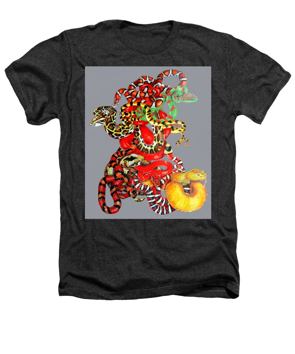 Reptile Heathers T-Shirt featuring the drawing Slither by Barbara Keith