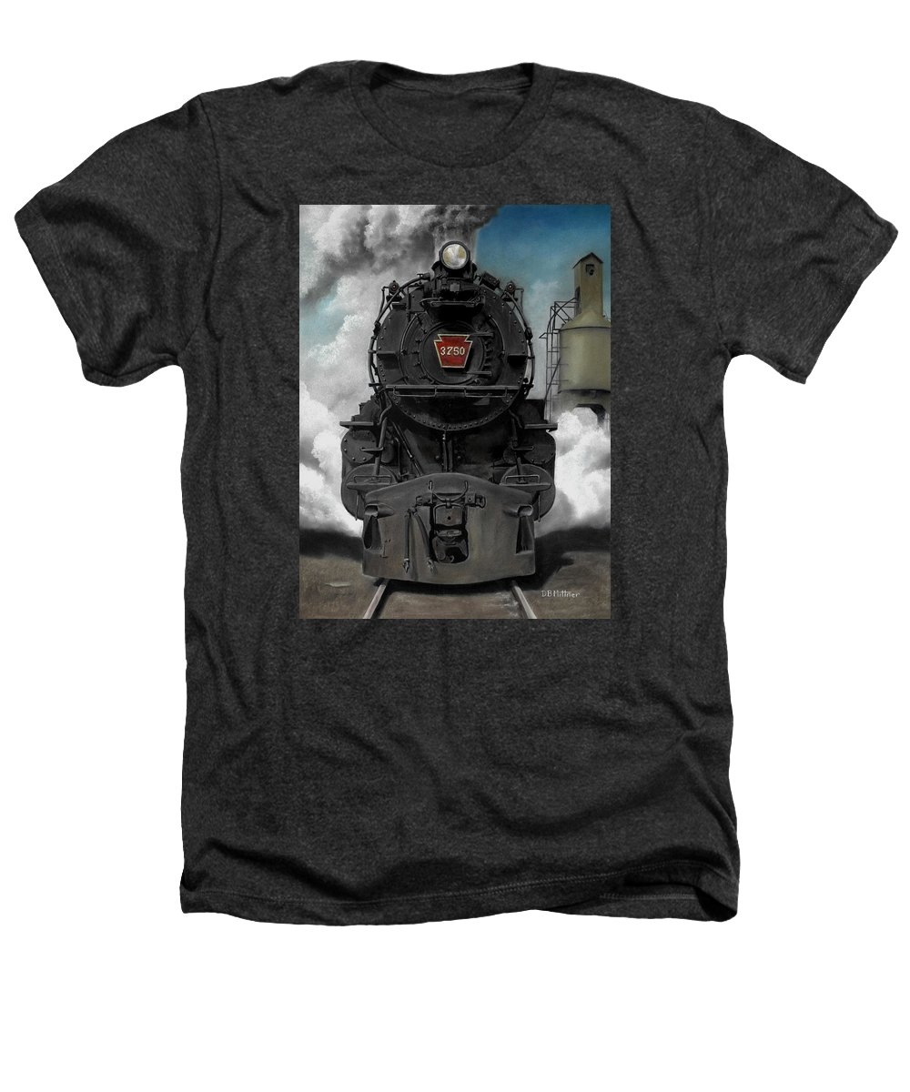 Trains Heathers T-Shirt featuring the painting Smoke And Steam by David Mittner