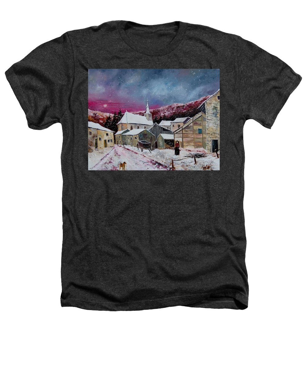 Snow Heathers T-Shirt featuring the painting Snow Is Falling by Pol Ledent