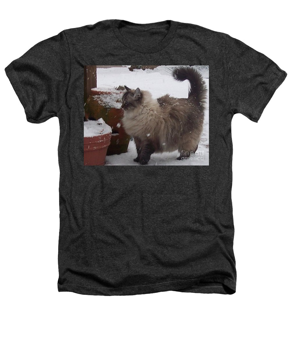 Cats Heathers T-Shirt featuring the photograph Snow Kitty by Debbi Granruth