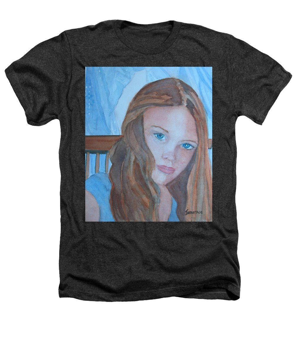 Girls Heathers T-Shirt featuring the painting Soft Steel by Jenny Armitage