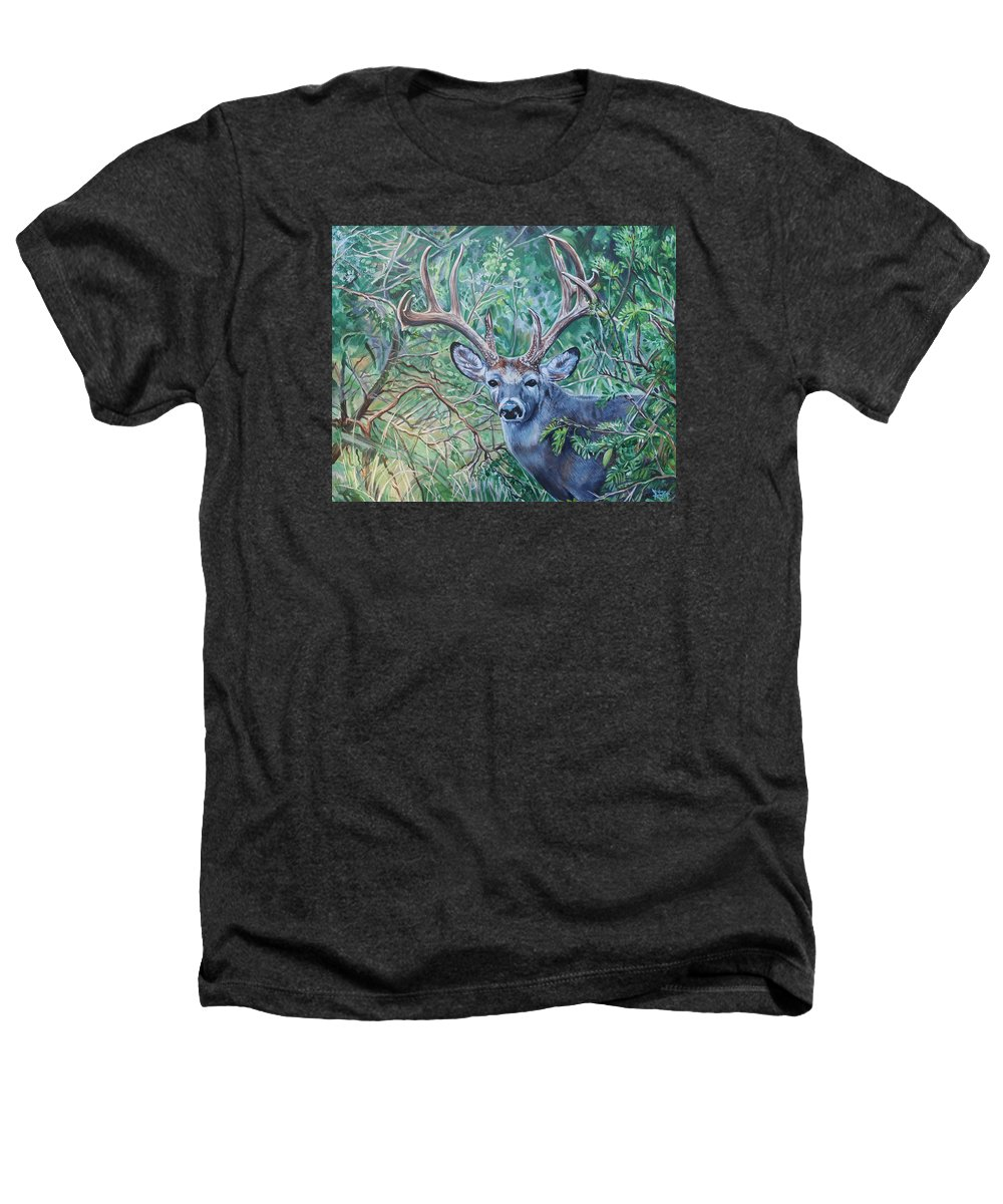 Deer Heathers T-Shirt featuring the painting South Texas Deer In Thick Brush by Diann Baggett
