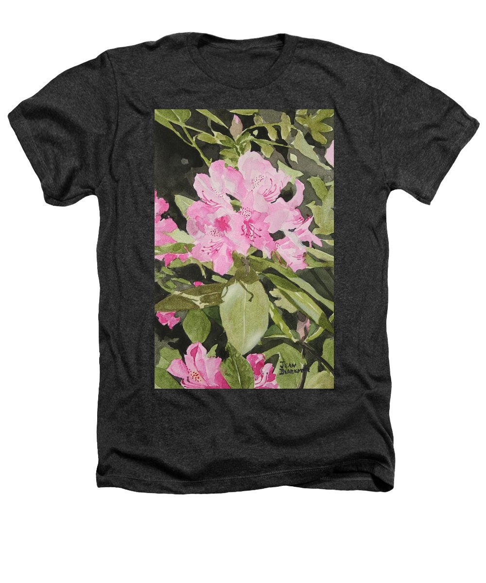 Flowers Heathers T-Shirt featuring the painting Spring At The Cabin by Jean Blackmer