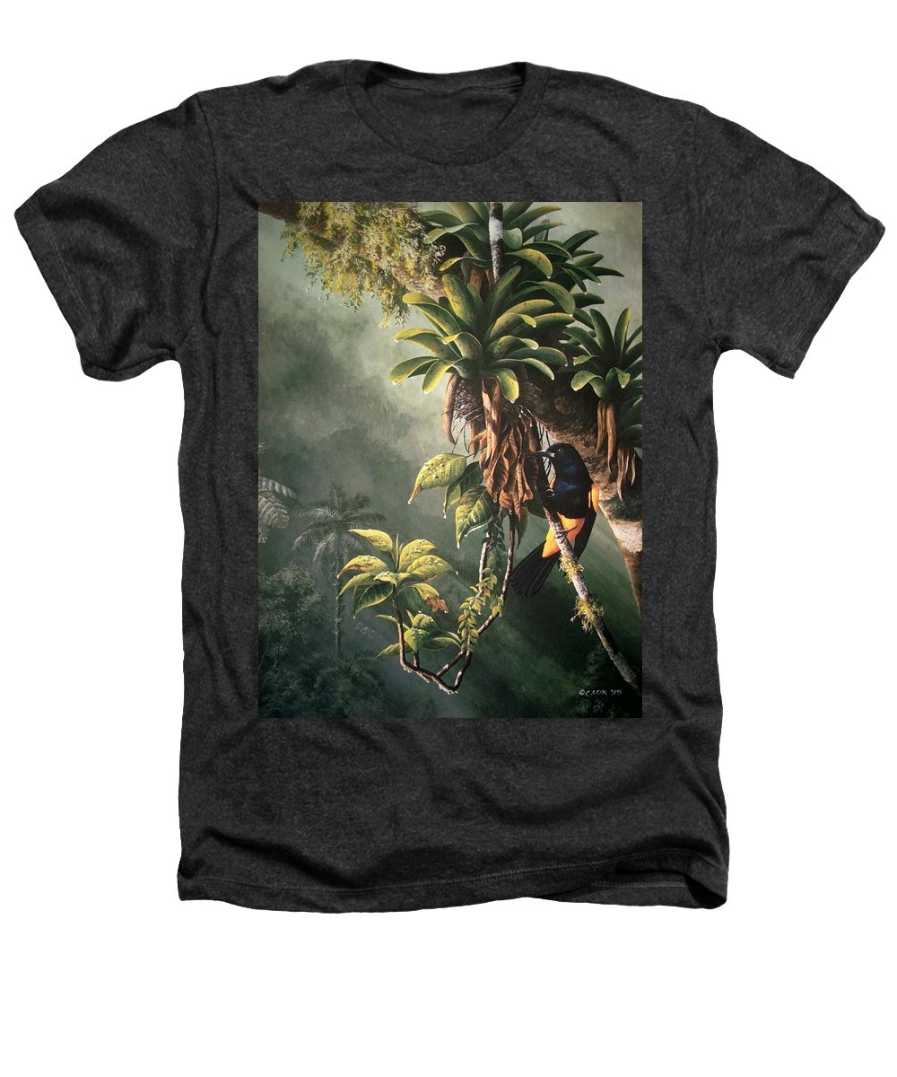 Chris Cox Heathers T-Shirt featuring the painting St. Lucia Oriole In Bromeliads by Christopher Cox