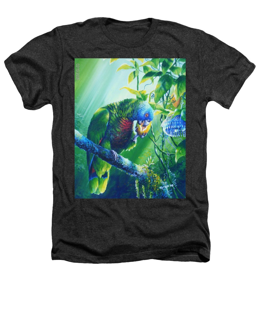 Chris Cox Heathers T-Shirt featuring the painting St. Lucia Parrot And Wild Passionfruit by Christopher Cox