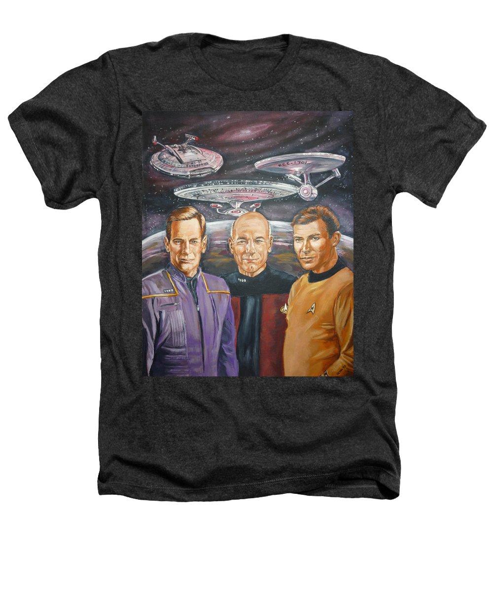Star Trek Heathers T-Shirt featuring the painting Star Trek Tribute Enterprise Captains by Bryan Bustard
