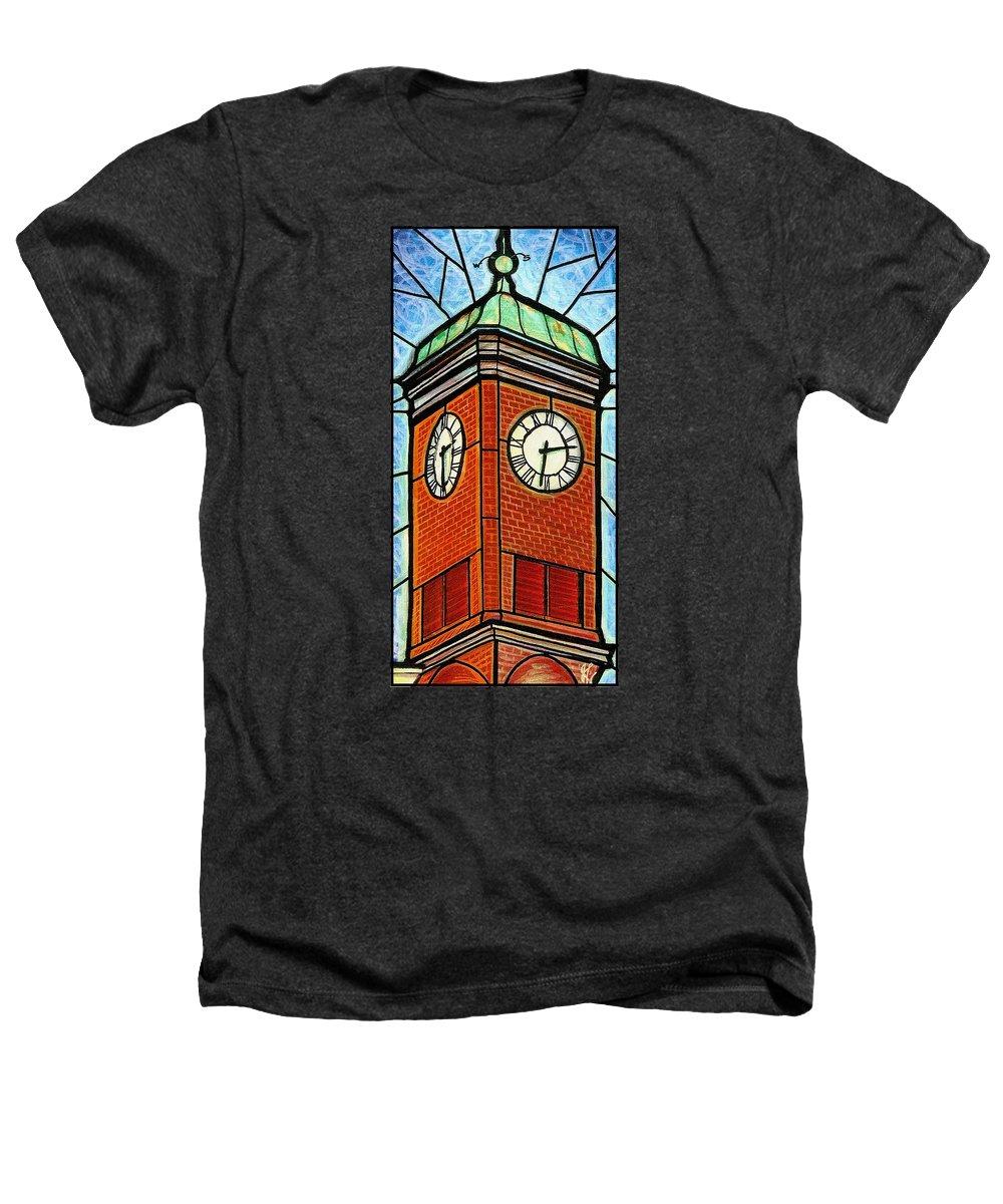 Clocks Heathers T-Shirt featuring the painting Staunton Clock Tower Landmark by Jim Harris