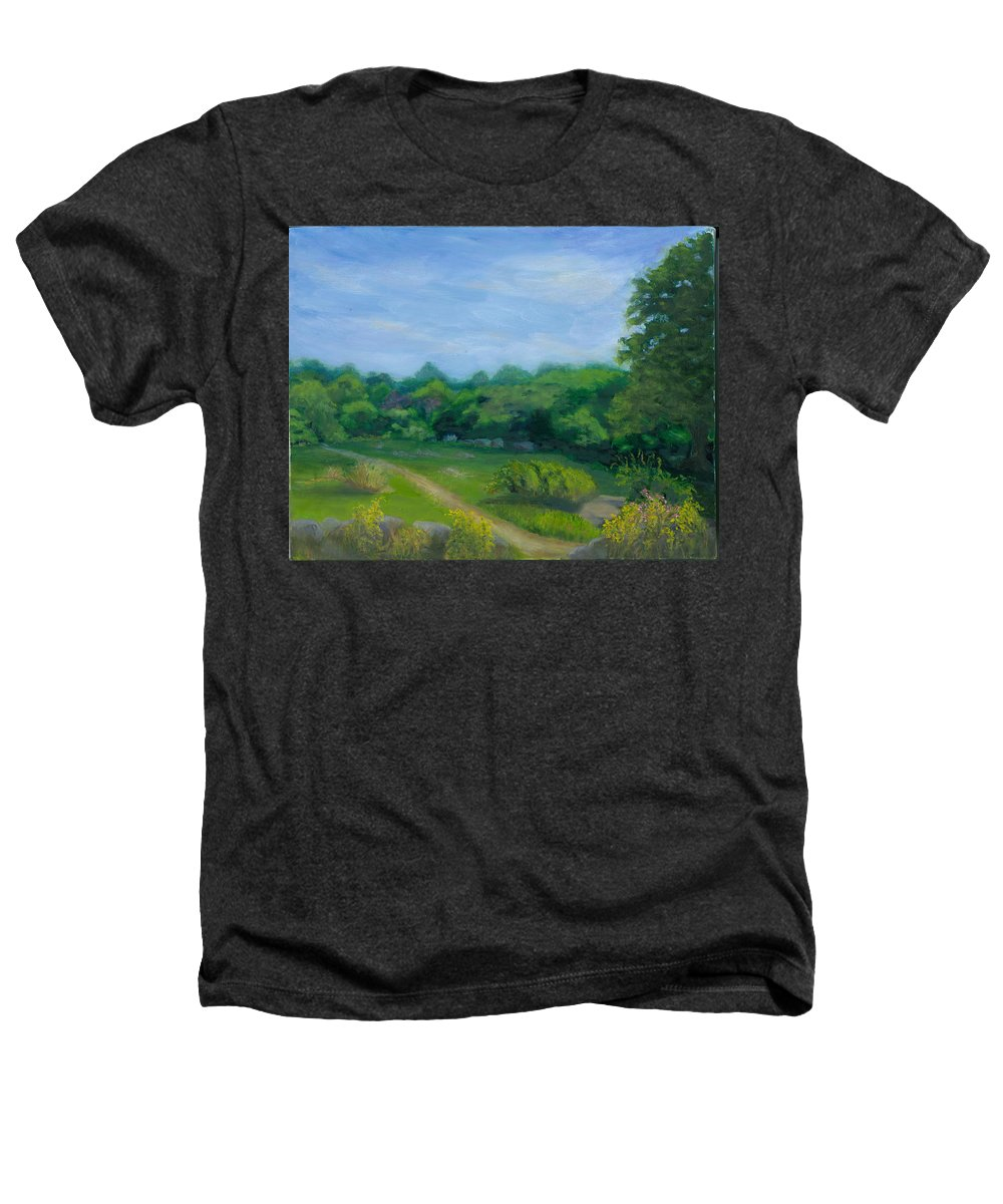 Landscape Heathers T-Shirt featuring the painting Summer Afternoon At Ashlawn Farm by Paula Emery