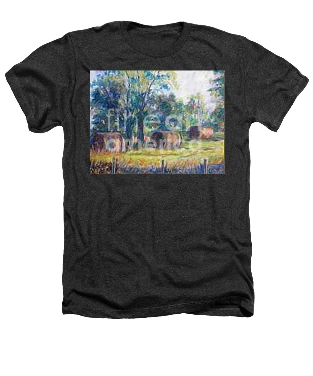 Landscape Heathers T-Shirt featuring the painting Summer Idyll by Jan Bennicoff