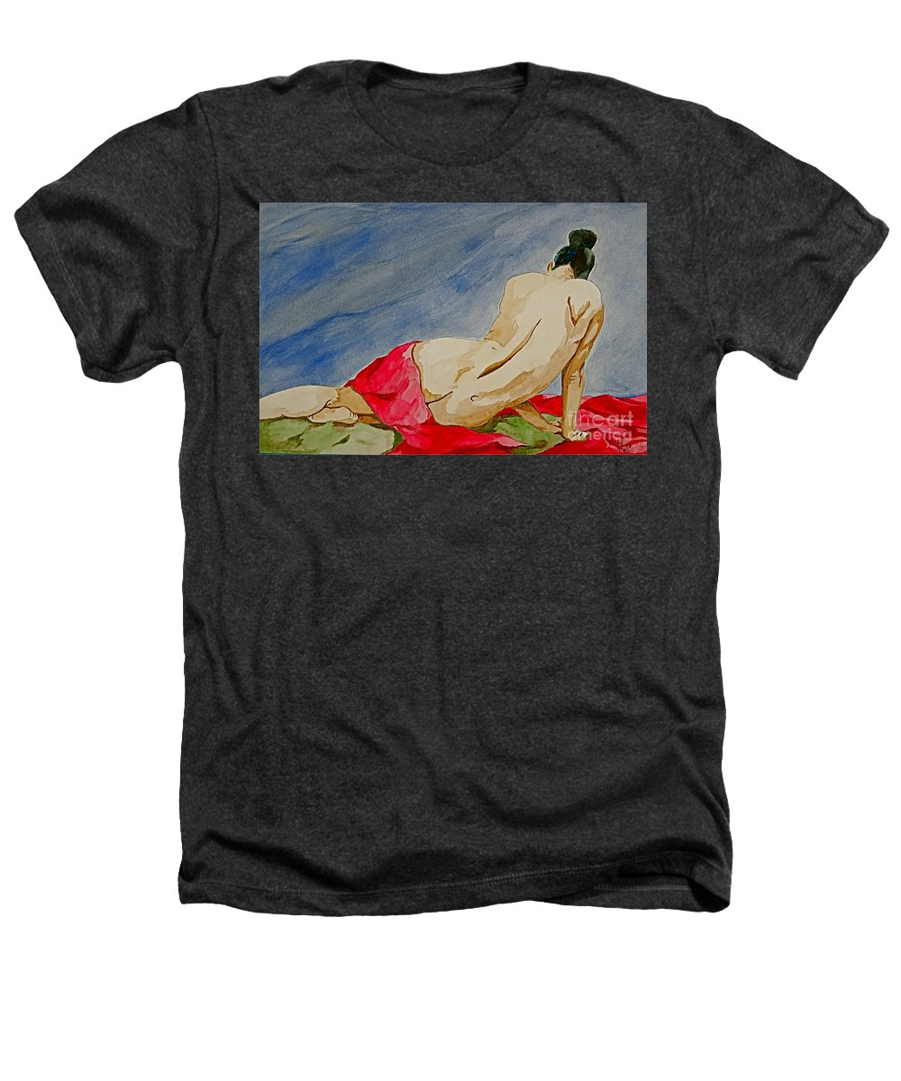 Nudes Red Cloth Heathers T-Shirt featuring the painting Summer Morning 2 by Herschel Fall