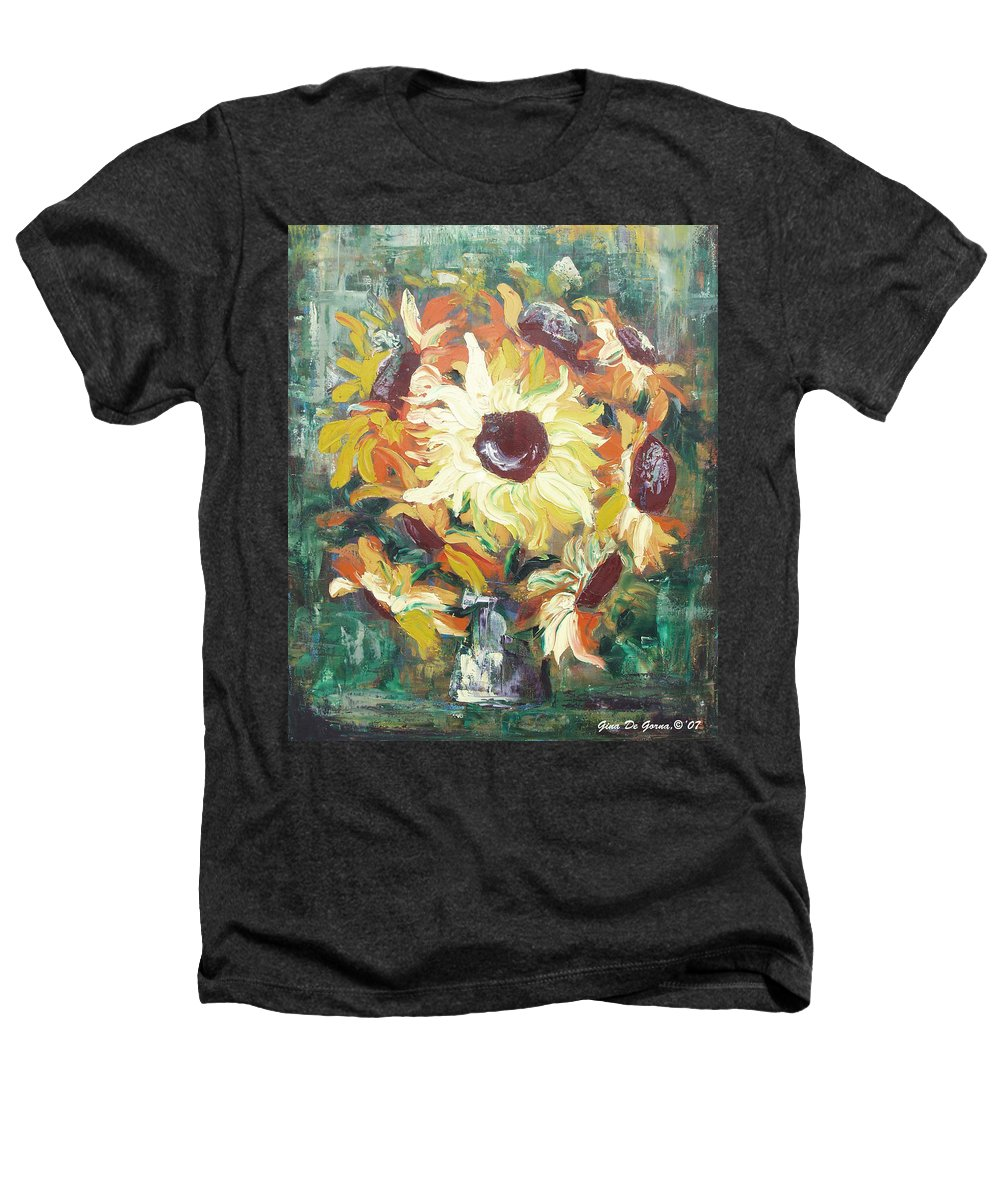 Sunflowers Heathers T-Shirt featuring the painting Sun In A Vase by Gina De Gorna