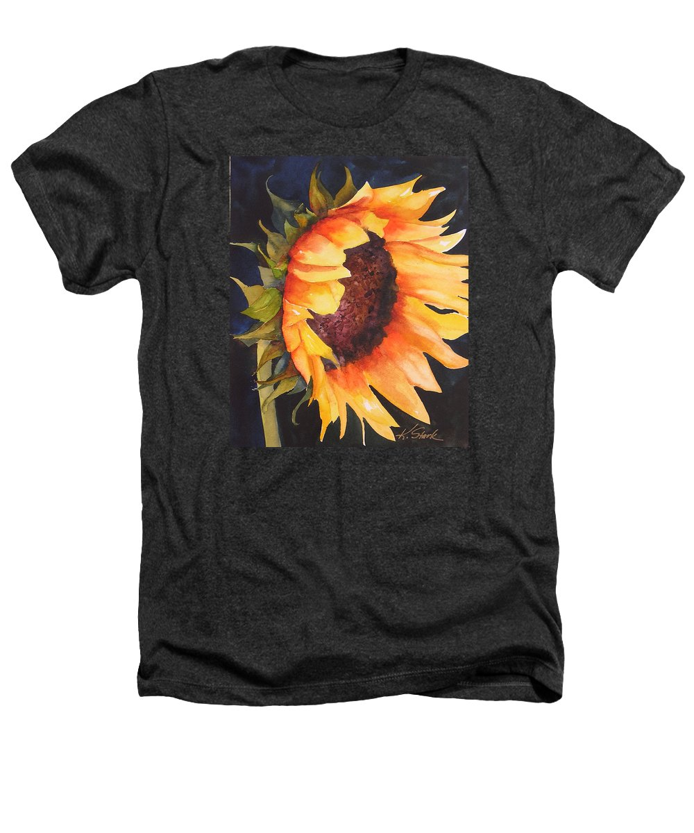 Floral Heathers T-Shirt featuring the painting Sunflower by Karen Stark