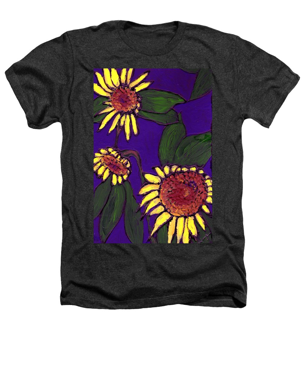 Sunflowers Heathers T-Shirt featuring the painting Sunflowers On Purple by Wayne Potrafka