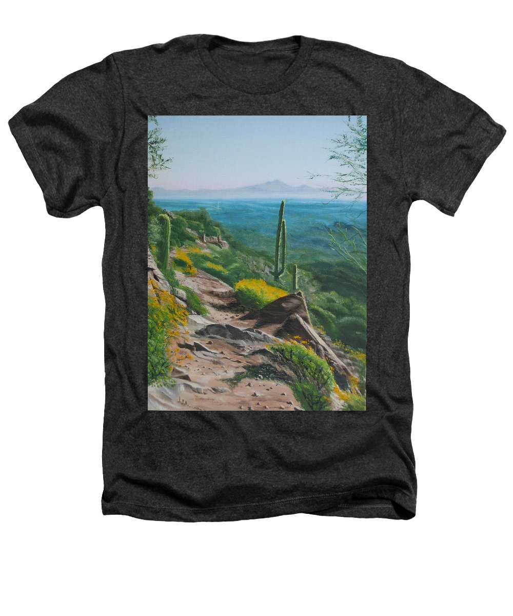 Landscape Heathers T-Shirt featuring the painting Sunrise Trail by Lea Novak