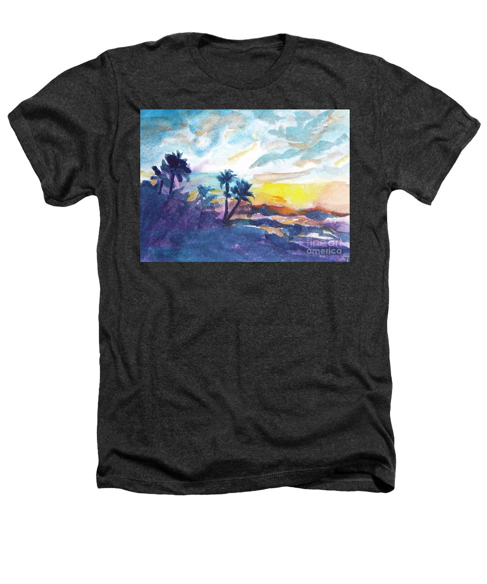 Landscape Heathers T-Shirt featuring the painting Sunset In Hawaii by Jan Bennicoff