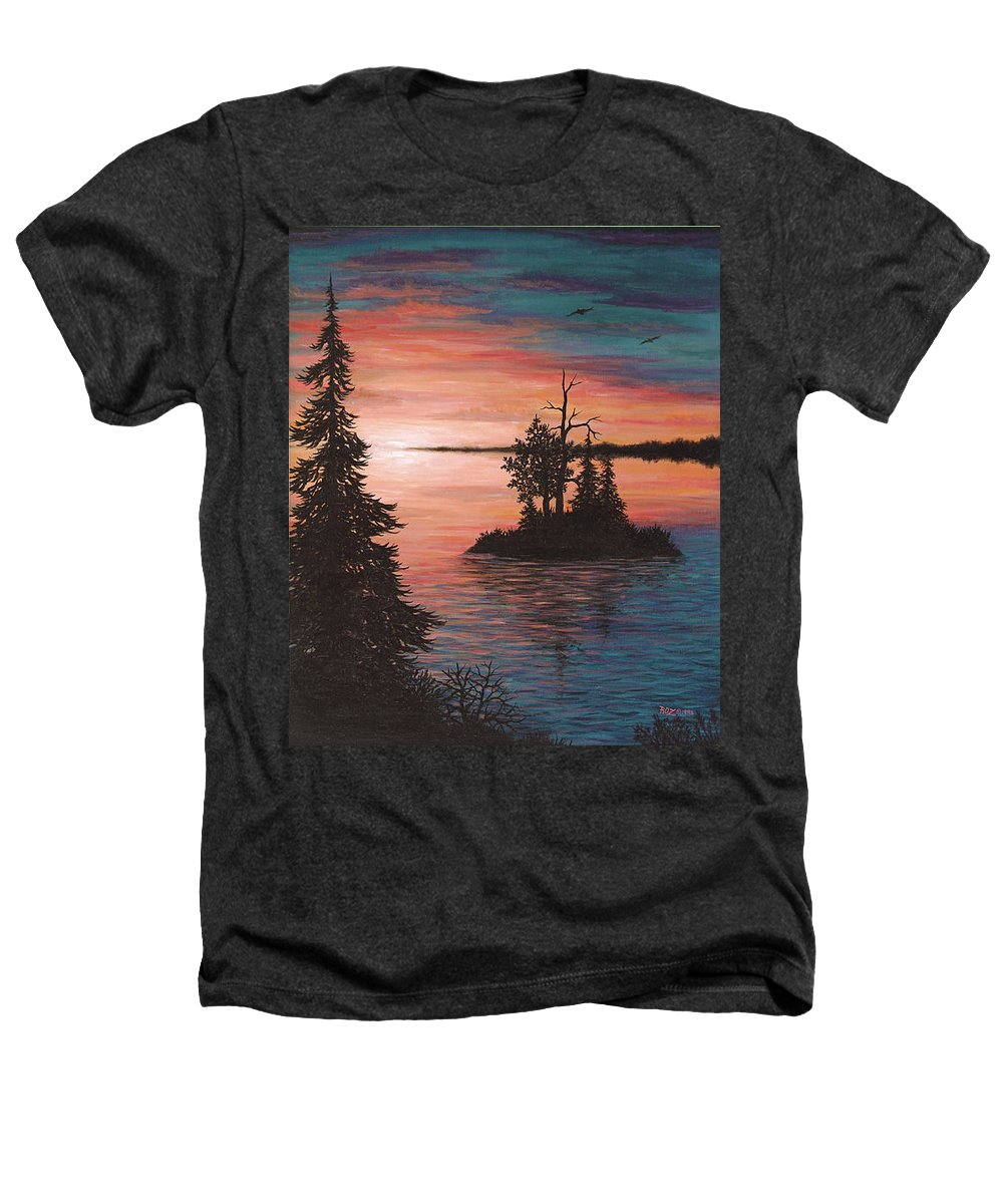 Sunset Heathers T-Shirt featuring the painting Sunset Island by Roz Eve