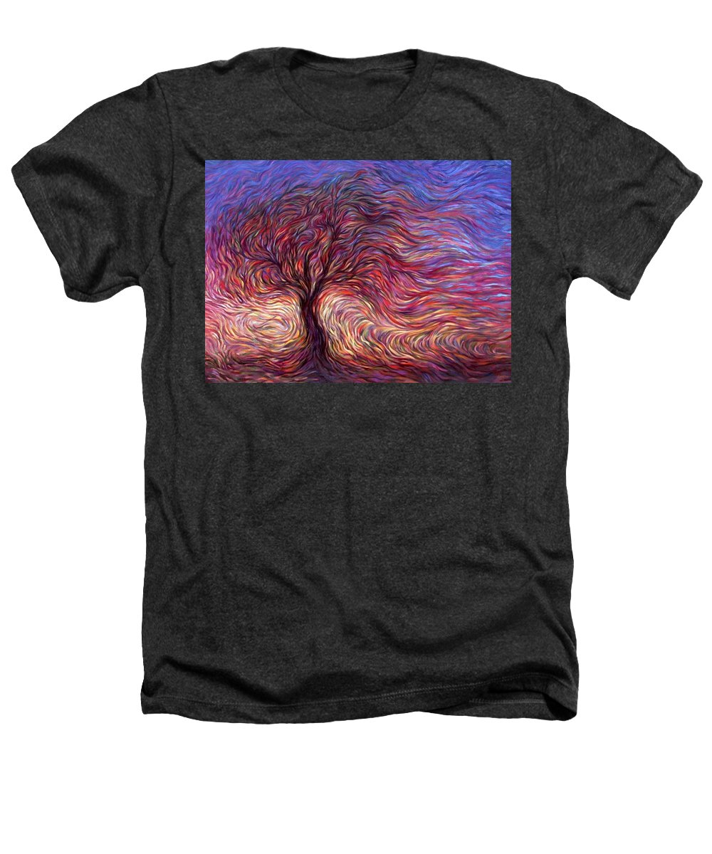 Tree Heathers T-Shirt featuring the painting Sunset Tree by Hans Droog