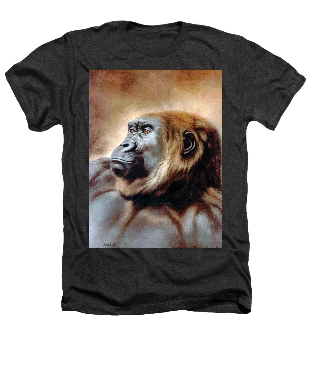 Gorilla Heathers T-Shirt featuring the painting Suzie Q by Deb Owens-Lowe