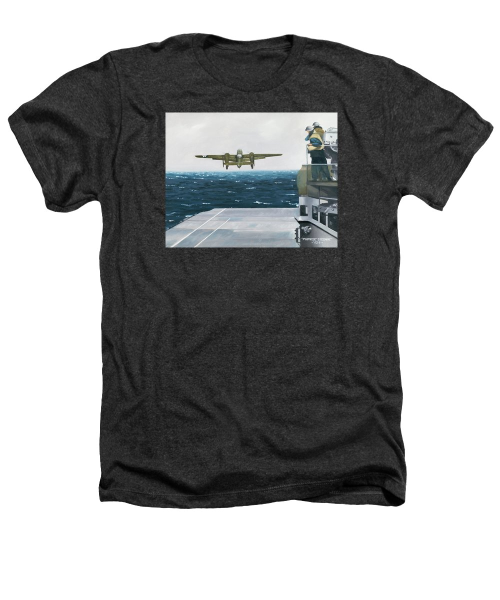 Aviation Heathers T-Shirt featuring the painting Target Tokyo by Marc Stewart