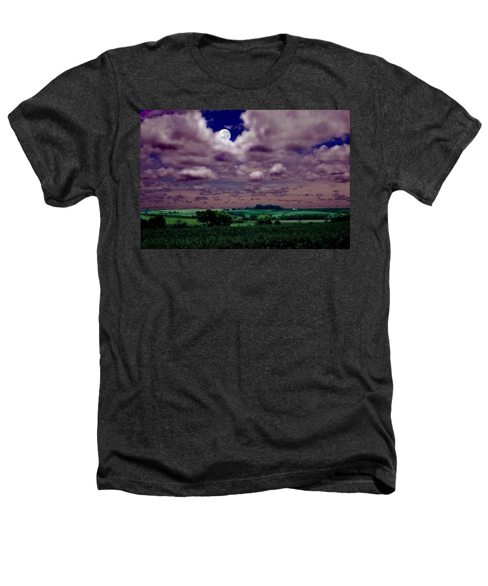 Landscape Heathers T-Shirt featuring the photograph Tarkio Moon by Steve Karol