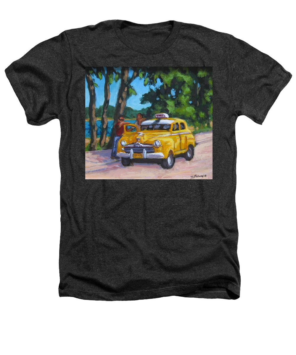 Old Cars Heathers T-Shirt featuring the painting Taxi Y Amigos by John Malone