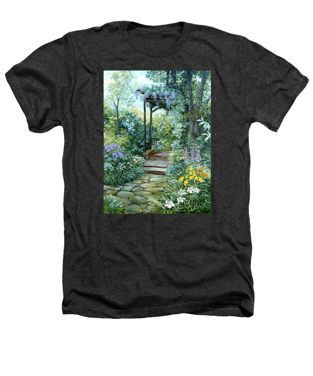 Oil Painting;wisteria;garden Path;lilies;garden;flowers;trellis;trees;stones;pergola;vines; Heathers T-Shirt featuring the painting The Garden Triptych Right Side by Lois Mountz