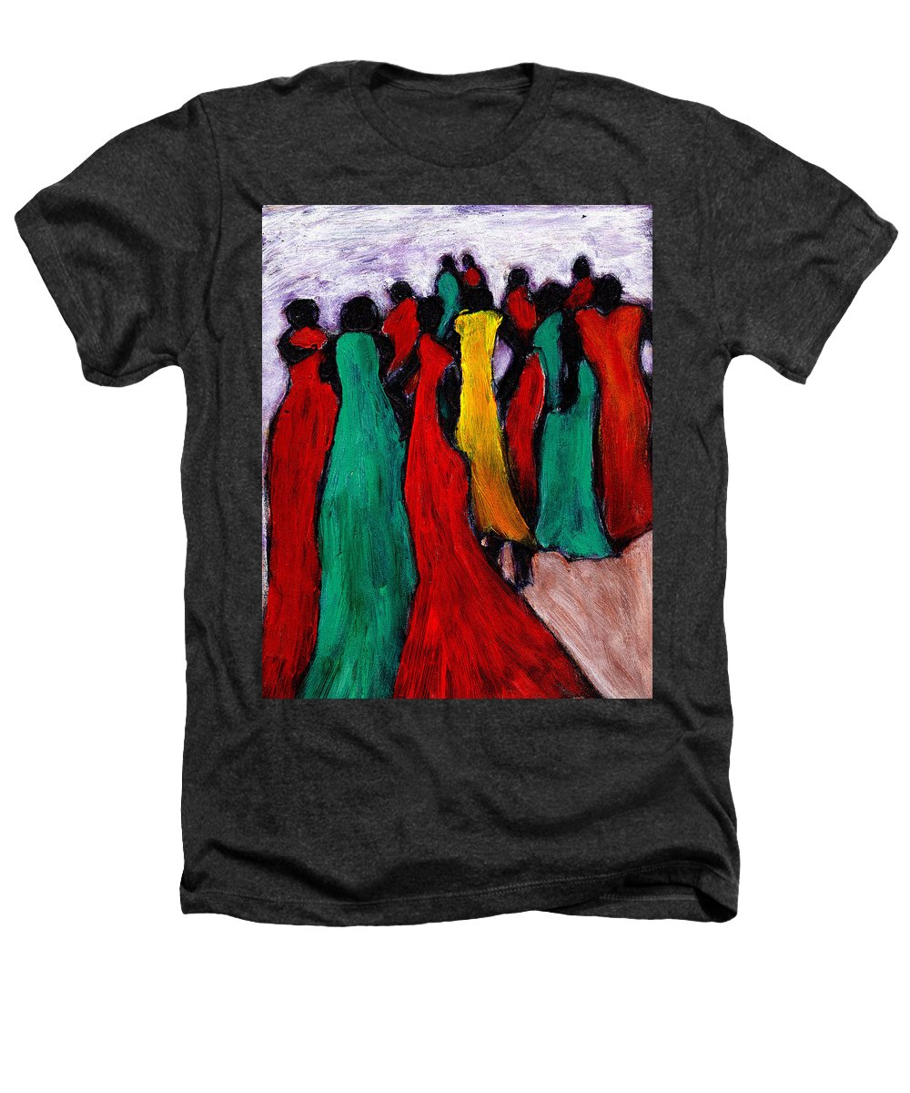 Black Art Heathers T-Shirt featuring the painting The Gathering by Wayne Potrafka
