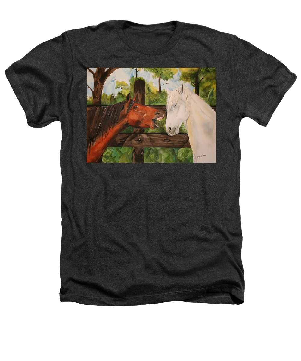 Horse Heathers T-Shirt featuring the painting The Horse Whisperers by Jean Blackmer