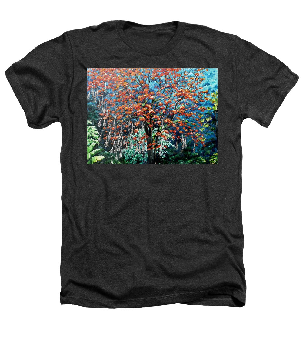 Tree Painting Mountain Painting Floral Painting Caribbean Painting Original Painting Of Immortelle Tree Painting  With Nesting Corn Oropendula Birds Painting In Northern Mountains Of Trinidad And Tobago Painting Heathers T-Shirt featuring the painting The Mighty Immortelle by Karin Dawn Kelshall- Best