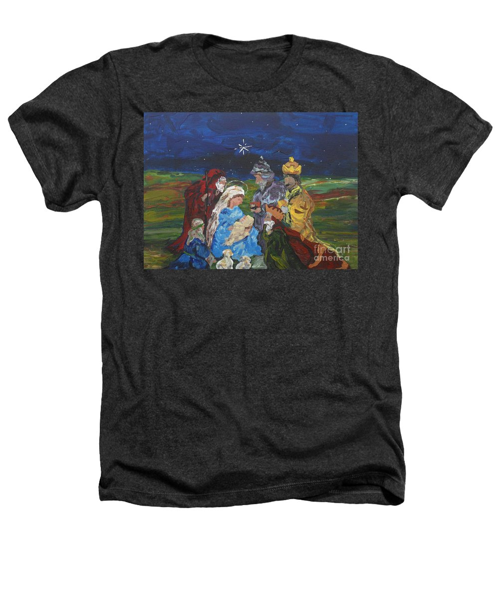 Nativity Heathers T-Shirt featuring the painting The Nativity by Reina Resto
