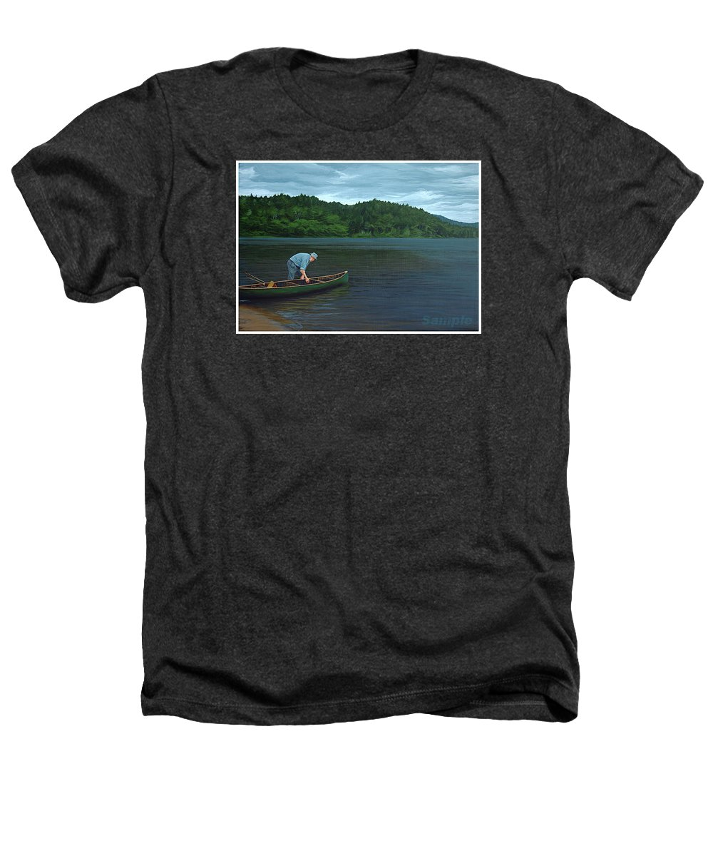 Landscape Heathers T-Shirt featuring the painting The Old Green Canoe by Jan Lyons